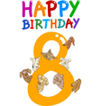 eighth birthday anniversary card vector image vector image