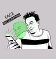 face recognition with smarth phone vector image