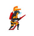 fireman in a protective mask with fire hose vector image vector image