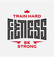 fitness - original lettering label or print vector image vector image