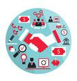 flat business elements handshake partnership vector image