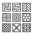 floor material icons tile and parquet line set vector image