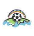 football on world and rainbow vector image vector image