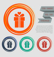 gift box icon on red blue green orange vector image vector image