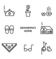 Grandmothers home Set of flat line icons vector image vector image