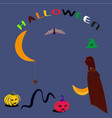 halloween-blue-witch vector image