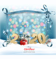 holiday christmas background with 2020 and a gift vector image vector image