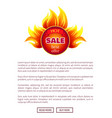 hot sale round burning badge with best promo offer vector image vector image
