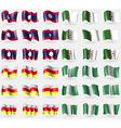 Laos Algeria North Ossetia Nigeria Set of 36 flags vector image vector image