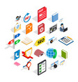 learning icons set isometric style vector image vector image