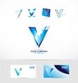 Letter V blue logo vector image vector image