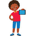 little african american boy in full growth holds vector image