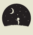 little kid boy looks to crescent moon vector image vector image