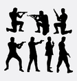 Man with gun silhouettes vector image
