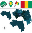 map of guinea with named regions vector image vector image