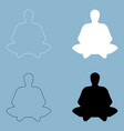 meditation man the black and white color icon vector image vector image