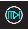 mk logo monogram with circle and four taper shape vector image vector image