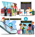 multinational people in airport waiting room man vector image vector image