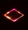 neon light sign laser rhomb on dark red background vector image