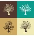 oak trees silhouette set vector image vector image