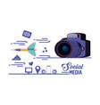 photographic camera with dart and social media set vector image