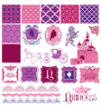 Scrapbook Design Elements - Princess Girl Birthday vector image