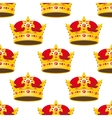 Seamless golden crowns with gems pattern vector image
