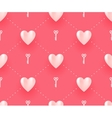 seamless pattern with white hearts and keys vector image
