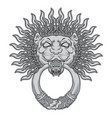 silver lion head on black background door vector image