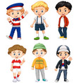 six boys in different costume vector image