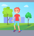 skateboarder and cityscape vector image vector image