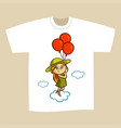 t-shirt print design girl with balloons vector image vector image