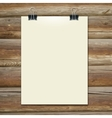 template of a paper sheet on the wooden table vector image
