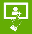 touch screen tablet click icon green vector image