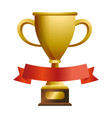 trophy cup with blank ribbon banner vector image vector image