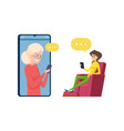 video call to parents daughter and mother talking vector image vector image