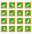 wing icons set green vector image
