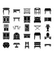 wooden furniture glyph icons vector image vector image