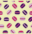 yellow macaroons seamless pattern background vector image