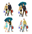 young couple with shopping vector image