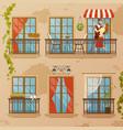 classic window balconies composition vector image