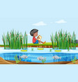 a boy reading book in nature vector image vector image