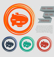 airship icon on the red blue green orange buttons vector image