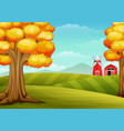 autumn trees in farm landscape with barn and windm vector image