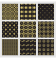 Black and golden modern geometrical patterns set vector image