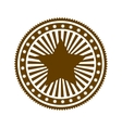 brown stamp abstract art deco emblem with star vector image vector image