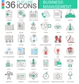 Business management modern color flat line vector image vector image