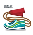 Cartoon skipping rope sneakers fitness elements vector image