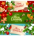Christmas and New Year festive cartoon banner set vector image