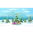 christmas winter cityscape snowflakes and trees vector image vector image